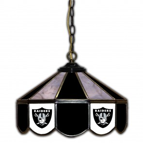 Oakland Raiders 14-Inch Glass Pub Lamp