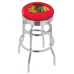 L7C3C Chicago Blackhawks Bar Stool w/Red Background